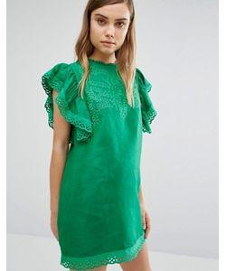 Style Mafia   Зеленое Платье С Вышивкой