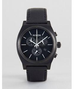 Nixon | Черные Часы С Кожаным Ремешком И Хронографом Time Teller
