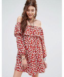 Glamorous | Платье С Открытыми Плечами И Цветочным Принтом В Винтажном Стиле