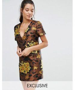 MISSGUIDED | Цельнокройное Платье Из Парчи С Цветочным Принтом