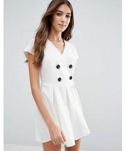 Wal G | Короткое Приталенное Платье С Пуговицами