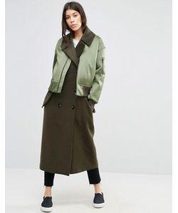Asos | Пальто С Отделкой В Стиле Куртки-Пилот