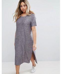 Junarose | Трикотажное Платье С Короткими Рукавами И Разрезами По Бокам