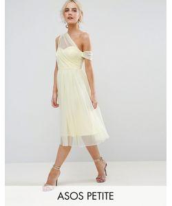 ASOS PETITE | Сетчатое Платье Для Выпускного На Одно Плечо Из Ткани Добби