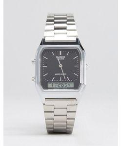 Casio | Аналоговые И Цифровые Часы Серебристого Цвета Aq230a-1ds