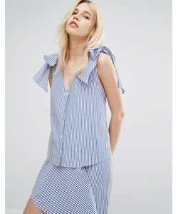 J.O.A | Блузка В Тонкую Полоску С V-Образным Вырезом И Завязками На Плечах