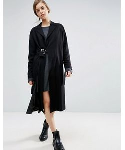 Asos | Легкое Пальто С Разрезом И Пряжкой