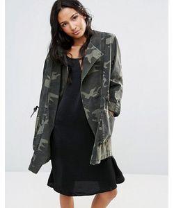 Parka London | Асимметричная Куртка С Камуфляжным Принтом Ester