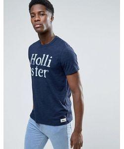 Hollister | Темно-Синяя Узкая Меланжевая Футболка С Большим Логотипом