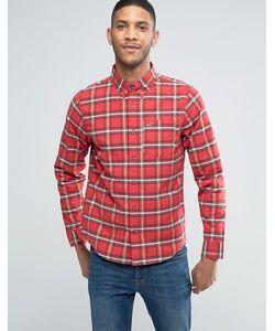 Hollister   Оксфордская Рубашка Слим В Красную Клетку Тартан
