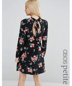 ASOS PETITE | Приталенное Платье С Высоким Воротом И Цветочным Принтом