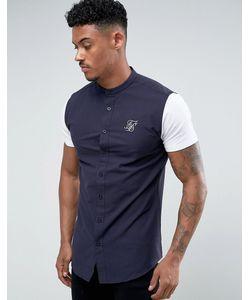 SikSilk | Темно-Синяя Обтягивающая Рубашка С Трикотажными Рукавами