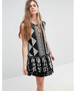 Anna Sui | Жаккардовое Цельнокройное Платье С Бахромой