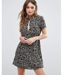 WYLDR | Чайное Платье С Цветочным Принтом Короткими Рукавами И Вырезом Капелькой