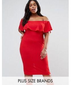 Club L | Платье С Широким Вырезом И Оборкой Plus