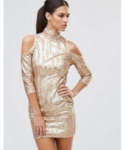 TFNC   Платье Мини С Открытыми Плечами И Пайетками