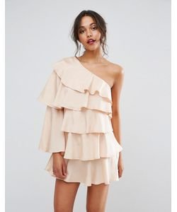 boohoo | Платье Мини На Одно Плечо С Оборками