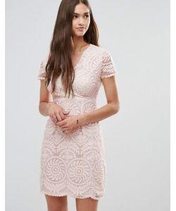 Darling | Кружевное Цельнокройное Платье С Короткими Рукавами