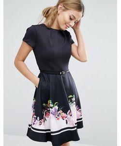Ted Baker | Короткое Приталенное Платье С Цветочной Отделкой