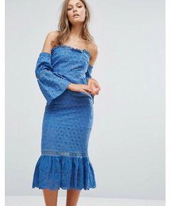 Foxiedox   Платье Миди С Открытыми Плечами И Оборками