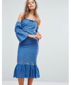 Foxiedox | Платье Миди С Открытыми Плечами И Оборками