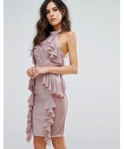 WOW Couture | Бандажное Платье С Оборками И Ромбовидным Узором На Сетчатой Вставке Wow