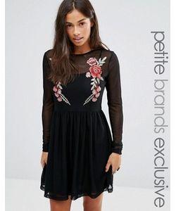 Glamorous Petite   Короткое Приталенное Платье С Цветочной Вышивкой