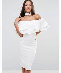 Club L | Платье Миди С Чокером Широким Вырезом И Двойной Оборкой