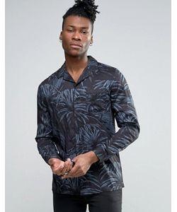 Asos | Темная Рубашка С Отложным Воротником И Цветочным Принтом
