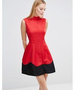 AX Paris   Короткое Приталенное Платье С Отделкой По Подолу