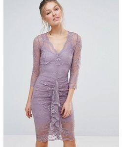 Body Frock | Облегающее Кружевное Платье Миди С Фигурным Краем И Сборками Bodyfrock