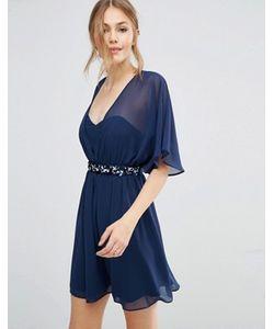 Asos | Короткое Приталенное Платье С Цветочной Отделкой На Талии