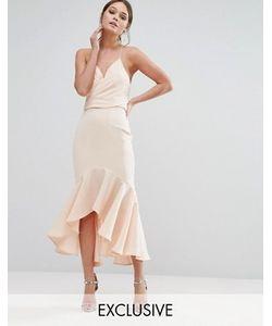 JARLO | Платье Миди С Запахом И Оборкой По Краю