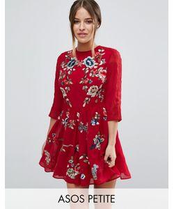 ASOS PETITE | Короткое Приталенное Платье Мини С Цветочной Вышивкой Premium