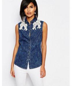 Vero Moda | Джинсовая Рубашка Без Рукавов С Кружевной Отделкой