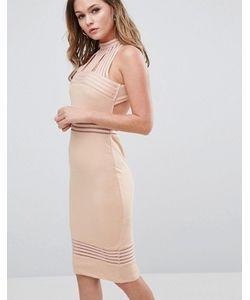 Ginger Fizz | Платье Миди С Высоким Воротом И Прозрачными Вставками