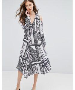 Miss Selfridge | Платье Миди С Вырезами На Плечах И Лоскутным Принтом