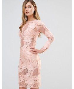 Dark Pink | Кружевное Платье Миди С Длинными Рукавами