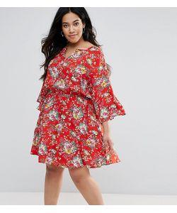 Yumi Plus | Короткое Приталенное Платье С Расклешенными Рукавами