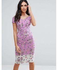 Vesper | Платье-Футляр Миди Со Спущенными Плечами И Цветочным Принтом