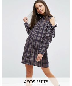 ASOS PETITE | Cold Shoulder Check Shirt Dress With Bow Detail