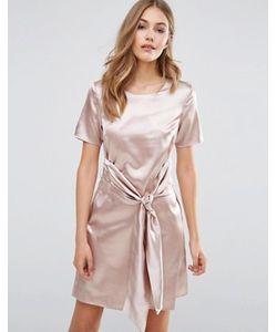 boohoo   Атласное Платье С Завязкой Спереди