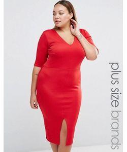 Praslin | Платье-Футляр С Vобразным Вырезом И Разрезом Спереди Plus