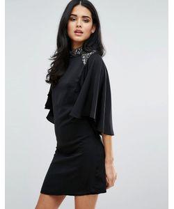 Little Mistress | Flutter Sleeve High Neck Dress