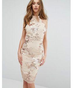 MISSGUIDED | Платье Миди С Отделкой Пайетками И Высокой Горловиной