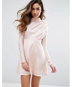 Fashion Union | High Neck Dress In Satin