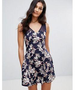 Qed London | Приталенное Платье С Сетчатыми Вставками И Цветочным Принтом