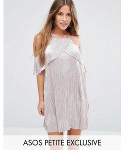 ASOS PETITE | Плиссированное Платье С Эффектом Металлик