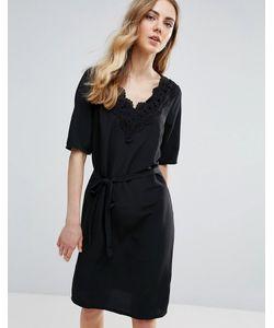 ICHI | Цельнокройное Платье С Кружевной Отделкой