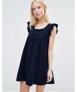 Qed London | Цельнокройное Платье С Оборками На Рукавах Corduroy